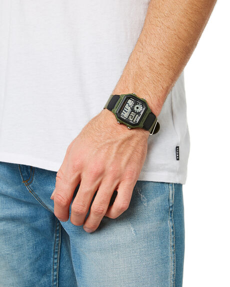 BLACK OLIVE BAND MENS ACCESSORIES CASIO WATCHES - AW1200WHB-3BBLKOL