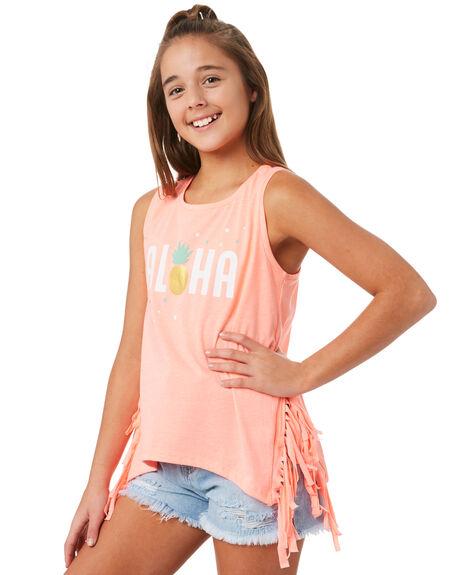 NEON CORAL KIDS GIRLS EVES SISTER TOPS - 9920024NCRL