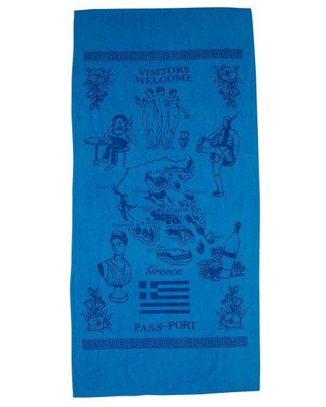 BLUE MENS ACCESSORIES PASS PORT TOWELS - R22GREECETOWELBLU