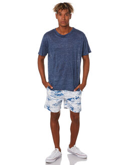 WHITE BLUE MENS CLOTHING ACADEMY BRAND SHORTS - 20S638WHBL