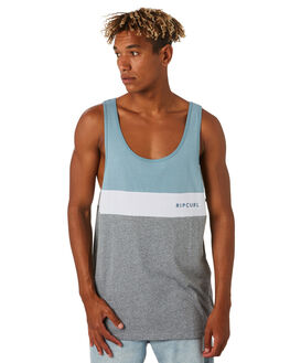 BLUE GREY MENS CLOTHING RIP CURL SINGLETS - CTESN21005