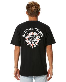BLACK WHITE MENS CLOTHING SPITFIRE TEES - BURNBLKWH