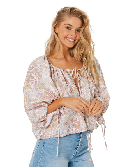 FLORAL FOREST CHOC WOMENS CLOTHING CHARLIE HOLIDAY FASHION TOPS - TUW7010FFC