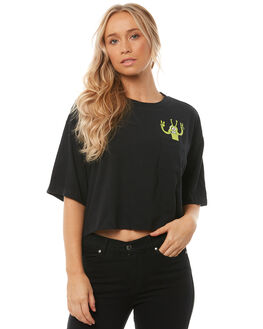 BLACK WOMENS CLOTHING VOLCOM TEES - B35118S4BLK