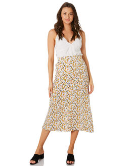 DESERT FLORAL YELLOW WOMENS CLOTHING RUE STIIC SKIRTS - RWS-19-04-3DSRTY