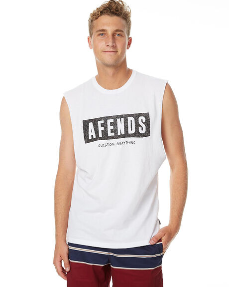 WHITE MENS CLOTHING AFENDS SINGLETS - 01-08-005WHT