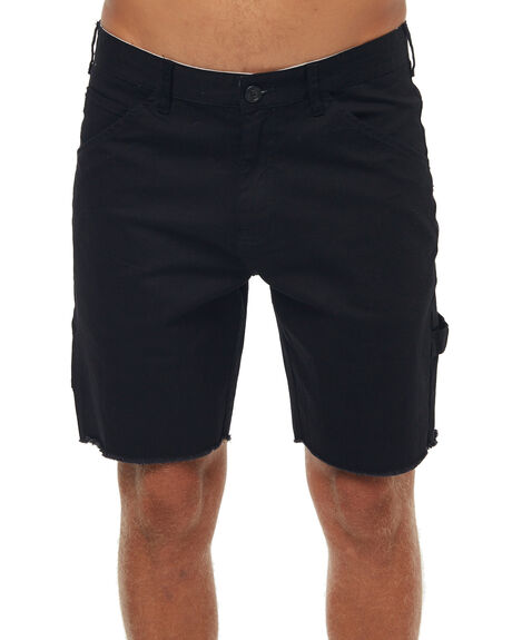 BLACK MENS CLOTHING AFENDS SHORTS - 09-07-010BLK