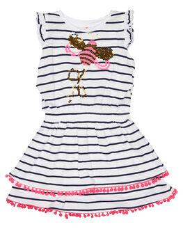 NAVY WHITE STRIPE KIDS TODDLER GIRLS EVES SISTER DRESSES - 8021029NVYWT