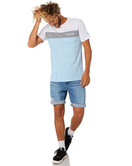 WHITE GREY MENS CLOTHING RIP CURL TEES - CTESG23329