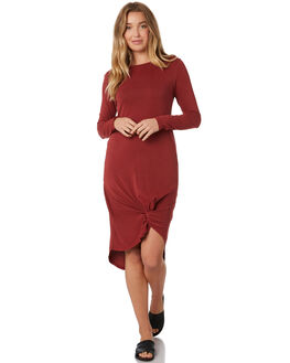BURGUNDY WOMENS CLOTHING SILENT THEORY DRESSES - 6015011BURG