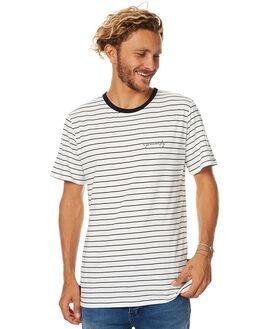 WHITE BLACK STRIPE MENS CLOTHING RPM TEES - 7WMT01AWBS