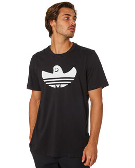 BLACK WHITE MENS CLOTHING ADIDAS TEES - DH3900BLK