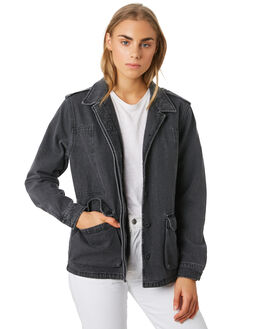 WASHED BLACK WOMENS CLOTHING THE HIDDEN WAY JACKETS - H8194381WSHBK