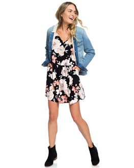 ANTHRACITE FLOWERS WOMENS CLOTHING ROXY DRESSES - ERJWD03343-KVJ6