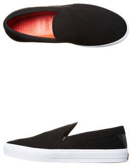 BLACK WHITE MENS FOOTWEAR GLOBE SLIP ONS - GBCASTLYT-10046
