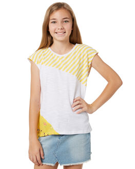 YELLOW WHITE STRIPE KIDS GIRLS EVES SISTER TOPS - 9920030STR