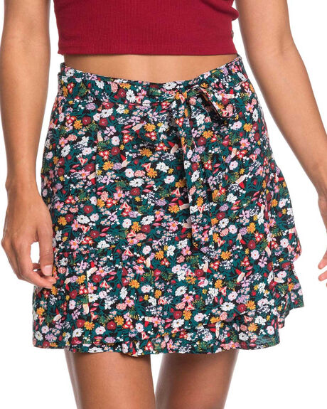 ANTHRACITE BOUQUET WOMENS CLOTHING ROXY SKIRTS - ERJWK03071-KVJ9