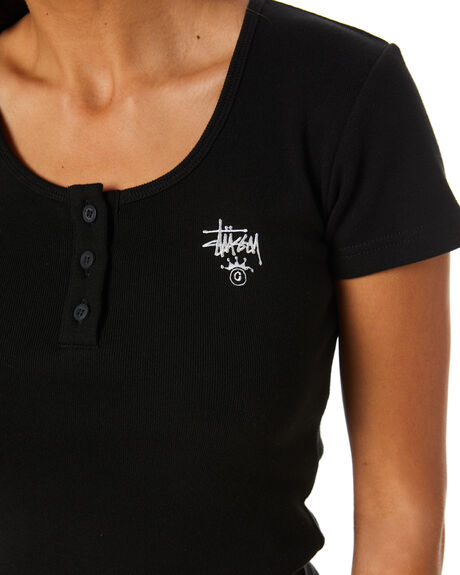 BLACK WOMENS CLOTHING STUSSY TEES - ST102103BLK