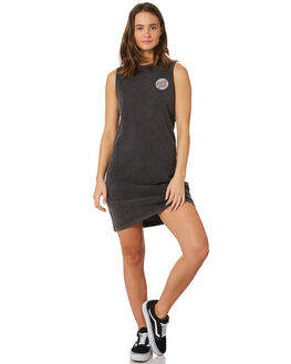ACID BLACK WOMENS CLOTHING SANTA CRUZ DRESSES - SC-WDC9894ABLK