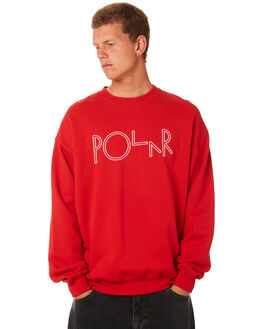 RED MENS CLOTHING POLAR SKATE CO. JUMPERS - PSCSCRIPTRED