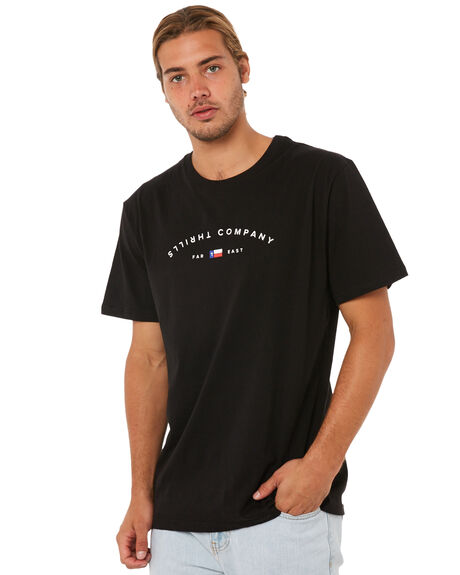 BLACK MENS CLOTHING THRILLS TEES - SMU-146BLK