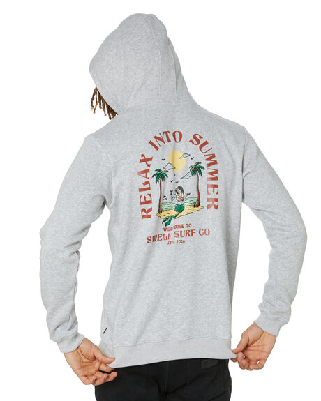 LIGHT GREY MARLE MENS CLOTHING SWELL HOODIES + SWEATS - S5221442GRYM
