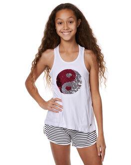 WHITE KIDS GIRLS EVES SISTER SINGLETS - 9900101WHT
