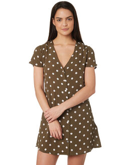 WASHED OLIVE OUTLET WOMENS RVCA DRESSES - R282773OLI