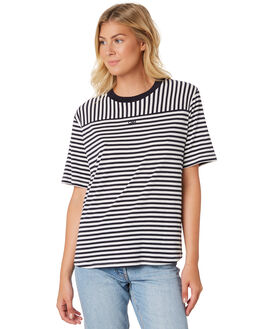 NAVY OFF WHITE WOMENS CLOTHING C&M CAMILLA AND MARC TEES - UCMT6933STR
