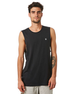 BLACK MENS CLOTHING VOLCOM SINGLETS - A3731624BLK
