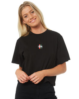 BLACK WOMENS CLOTHING STUSSY TEES - ST182013BLK