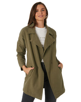 ARMY GREEN WOMENS CLOTHING THRILLS JACKETS - WTW9-210FARMY