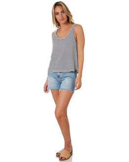 BLACK WHITE WOMENS CLOTHING RIP CURL SINGLETS - GTEIA90431