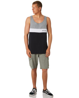 BLACK MENS CLOTHING RIP CURL SINGLETS - CTELR20090