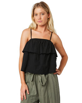 BLACK OUTLET WOMENS RUSTY FASHION TOPS - WSL0585-BLK