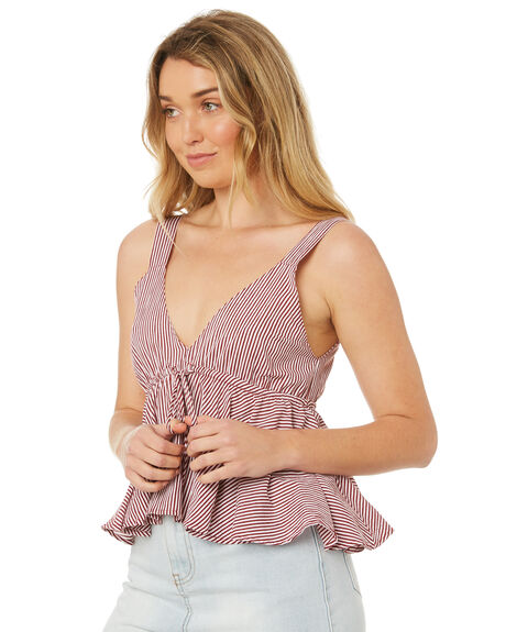 RED MICRO STRIPE OUTLET WOMENS RUE STIIC FASHION TOPS - WS18-27-RS-CBREDS