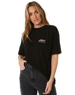BLACK WOMENS CLOTHING STUSSY TEES - ST193008BLK