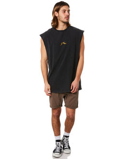 BLACK MENS CLOTHING RUSTY SINGLETS - MSM0249BLK