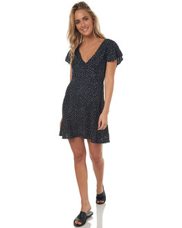 BLACK COMBO WOMENS CLOTHING VOLCOM DRESSES - B1341784BCOM