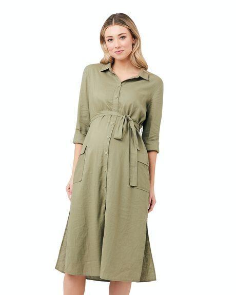 KHAKI WOMENS CLOTHING RIPE MATERNITY DRESSES - S1250-KHAKI-XS