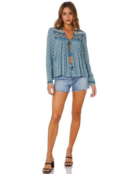SKY BLUE WOMENS CLOTHING TIGERLILY FASHION TOPS - T601240SKY