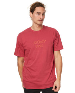 WASHED RED MENS CLOTHING STUSSY TEES - ST077010WDRED