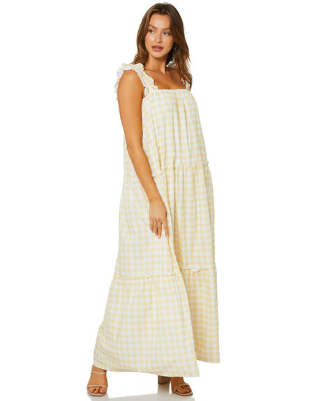 YELLOW GINGHAM WOMENS CLOTHING CHARLIE HOLIDAY DRESSES - ROW6001YGIN