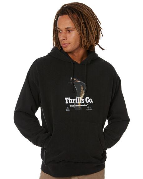 BLACK MENS CLOTHING THRILLS HOODIES + SWEATS - TW21-224BBLK
