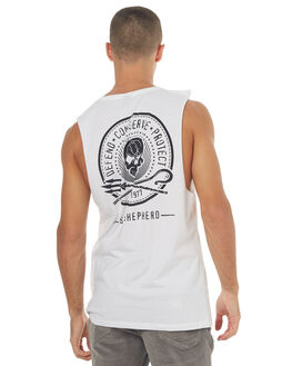 WHITE MENS CLOTHING SEA SHEPHERD SINGLETS - SSA831BWHT