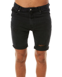 BLACK TRASHED MENS CLOTHING INSIGHT SHORTS - 1000067688BLK