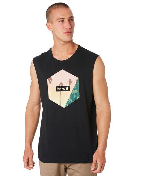 BLACK MENS CLOTHING HURLEY SINGLETS - AJ1768010