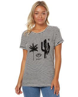 CL STRIPE WOMENS CLOTHING ROXY TEES - ERJZT03932WBT3