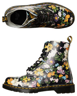 DARCY FLORAL BLACK WOMENS FOOTWEAR DR. MARTENS BOOTS - SS22728001DFBLKW