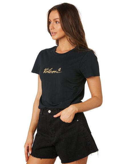 BLACK WOMENS CLOTHING VOLCOM TEES - B3531976BLK